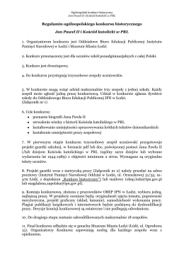 Regulamin ogólnopolskiego konkursu historycznego Jan Paweł II i