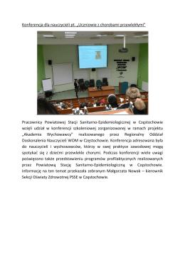 """Konferencja dla nauczycieli pt. """"Uczniowie z chorobami przewlekłymi"""""""