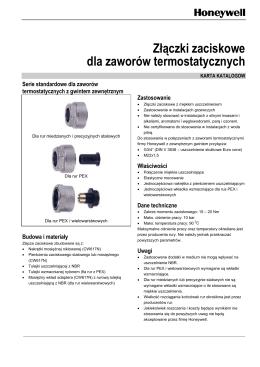 Złączki zaciskowe dla zaworów termostatycznych