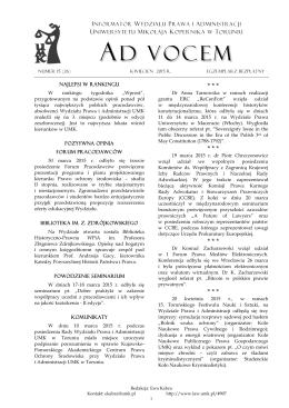 Ad Vocem 2015, nr 15 - Wydział Prawa i Administracji UMK
