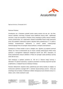(ArcelorMittal Poland ograniczy emisję do powietrza)