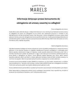 Informacje Odstąpienie od Umowy
