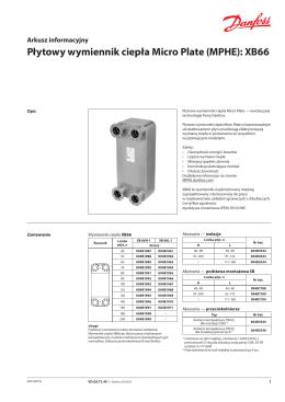 Płytowy wymiennik ciepła Micro Plate (MPHE): XB66