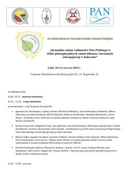 Program konferencji - Wydział Nauk Geograficznych UŁ