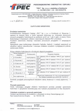 """PRZEDSIĘBIORSTWO ENERGETYKI CIEPLNEJ """"PEC"""" Sp. z 0.0. z"""
