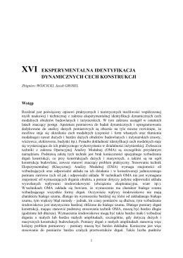 xvi eksperymentalna identyfikacja dynamicznych cech konstrukcji