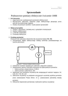 Sprawozdanie Podstawowe pomiary elektryczne ćwiczenie 100B