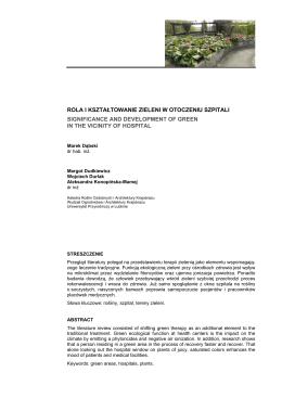 rola i kształtowanie zieleni w otoczeniu szpitali significance and