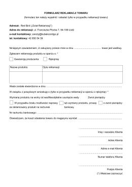 FORMULARZ REKLAMACJI TOWARU (formularz
