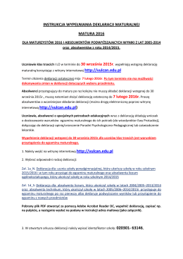 instrukcja wypełniania deklaracji maturalnej 2015