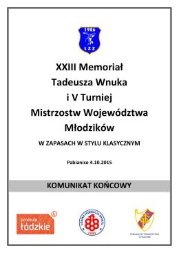 XXIII Memoriał T. Wnuka i 5 Turniej Mistrzostw Woj. Młodzików SK