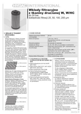 Wkłady filtracyjne z tkaniny drucianej W, W/HC