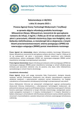 Rekomendacja nr 68/2015 z dnia 31 sierpnia 2015 r.