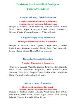 Powiatowe Sztafetowe Biegi Przełajowe Puławy, 05.10.2015r