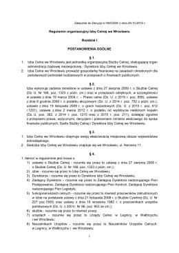 Regulamin organizacyjny Izby Celnej we Wrocławiu Rozdział I