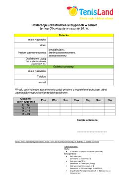 Deklaracja uczestnictwa - Szkoła Tenisa Jaworzno