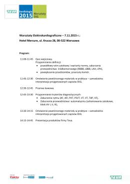 Warsztaty Elektrokardiograficzne – 7.11.2015 r