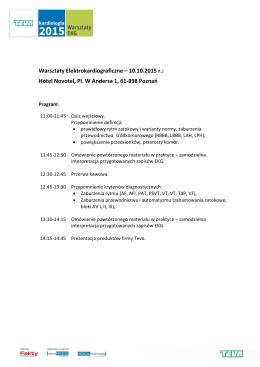 Warsztaty Elektrokardiograficzne – 10.10.2015 r