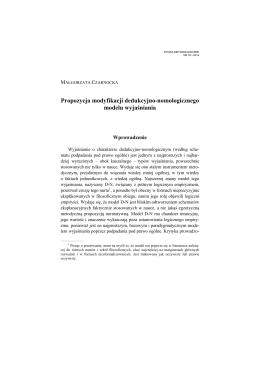 Modyfikacja dedukcyjno-nomologicznego modelu wyjaśniania
