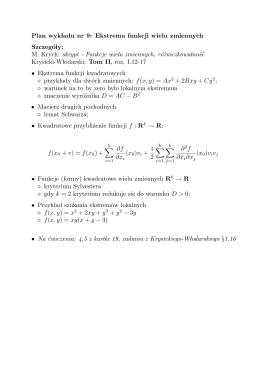 Plan wyk ladu nr 9: Ekstrema funkcji wielu zmiennych