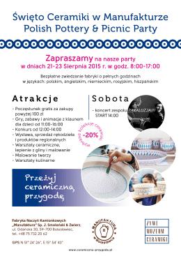 Święto Ceramiki w Manufakturze Polish Pottery & Picnic Party
