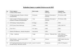 Kalendarz imprez w gminie Iwkowa na rok 2015
