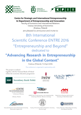 8th International Scientific Conference ENTRE 2016