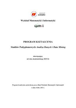 Program Studiów Podyplomowych – Analiza Danych i Data Mining