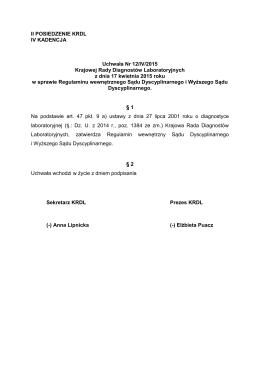 treść uchwały - Krajowa Izba Diagnostów Laboratoryjnych