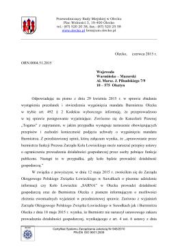 Projekt pisma do Wojewody Warmińsko