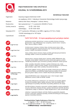 Informacje targowe - Przedstawicielstwo Targów Koelnmesse