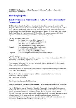Informacje rapotru Państwowa Szkoła Muzyczna I i II st. im. Wacława