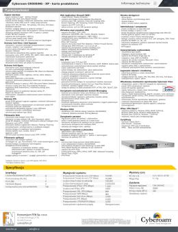 Informacje techniczne Funkcjonalności Specyfikacja