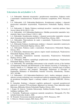 Literatura do artykułów L.A. Dobrzański, D