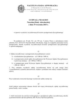 Uchwała NRA 44-2015 w sprawie kosztów postępowania
