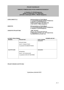 Zał. 9c- projekt budowlany (branża elektryczna)