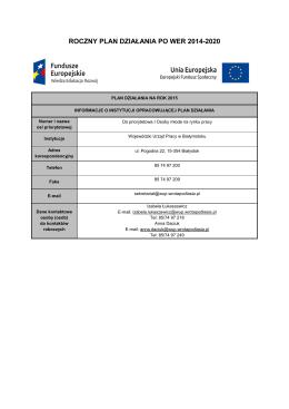 Zatwierdzony Plan Działania PO WER 2014