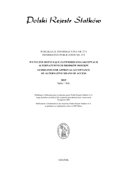 Publication No. 27/I – Guidelines for Approval/Acceptance of
