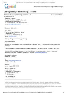 Dotyczy: dostępu do informacji publicznej