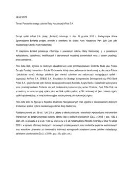 RB 22 /2015 Temat: Powołanie nowego członka Rady