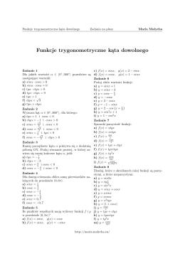 Funkcje trygonometryczne kąta dowolnego