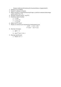 Zestaw zadań powtórzeniowych do sprawdzianu z trygonometrii. 1