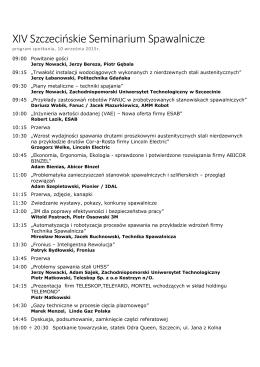 Program Seminarium - Zachodniopomorski Uniwersytet