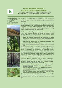 Forest Research Institute – Bulgarian Academy of Sciences
