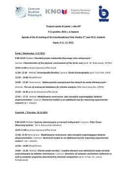 Program III zjazdu dla doktorantów I roku Interdyscyplinarnych