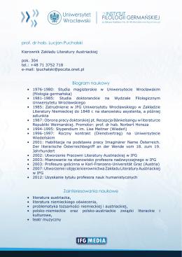 prof. dr hab. Lucjan Puchalski Biogram naukowy Zainteresowania