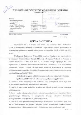 OPINIA SANITARNA - Wielkopolski Zarząd Melioracji i Urządzeń