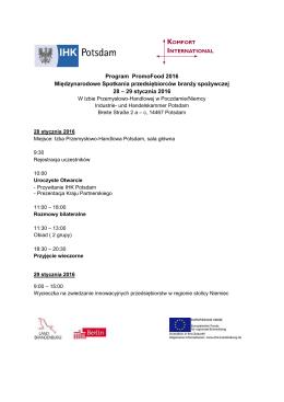 Program PromoFood 2016 Międzynarodowe Spotkania