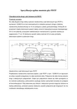 Specyfikacja ogólna montażu płyt PDTP