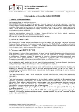 Informacja dla użytkownika SILCA®HEAT 600C